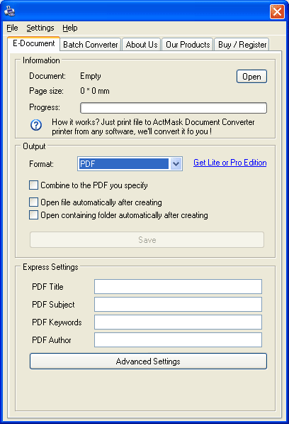Click to view ActMask Document Converter Pro 3.433 screenshot